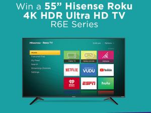 iHeart Radio & Hisense – Win 1 of 10 Hisense Roku 4K HDR Ultra HD TV 55″ R6E Series valued at $348 each