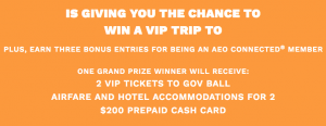 American Eagle Outfitters – Win a trip for 2 & 2 VIP tickets to Governors Ball Music Festival