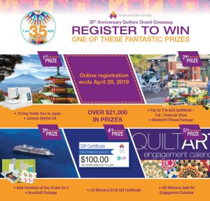 American Quilter's Society – Win a grand prize package valued at $9,989 OR 1 of 62 minor prizes