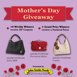 John Soules Foods – Win 1 of 3 purses OR 1 of 10 foods coupons for free products