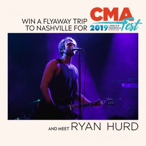 Sony Music Entertainment – Ryan Hurd CMA Fest – Win a trip for 2 to Nashville, TN for a meet and greet with Ryan Hurd valued at $4,000