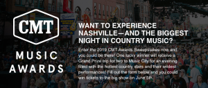 Viacom Media Networks – Win 1 of 3 trip packages for 2 to Nashville