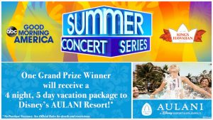 ABC – Win a grand prize package of a trip for 4 to Aulani