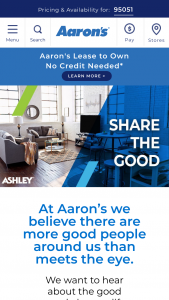 Aaron's – Share The Good Contest – Limited Entry – Win Ashley furniture for either a bedroom