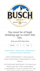 Anheuser-Busch And Natural Light – Year Of Beer – Win one $360.00 prepaid debit card which may be used to purchase two cases of Busch