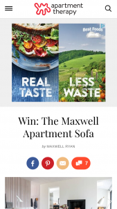 Apartment Therapy – Maxwell Apartment Sofa Giveaway – Win the prize valued up to $1600.