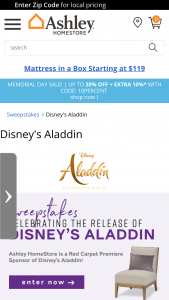 Ashley Homestore – Celbrating The Release Of Disney's Aladdin Sweepstakes
