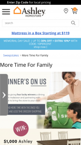 Ashley Homestore – More Time For Family Sweepstakes