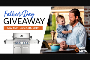 Bbqguys – 'summer Of Dad Giveaway' – Win one Napoleon Prestige 500 Propane Gas Grill with Infrared Rear Burner and Infrared Side Burner
