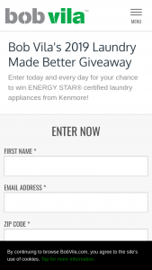 Bob Vila – 2019 Laundry Made Better Giveaway #2 – Win their choice of one washing machine