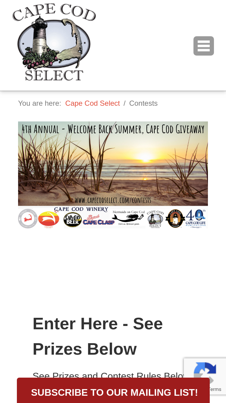 Cape Cod – Welcome Back Summer Giveaway Sweepstakes