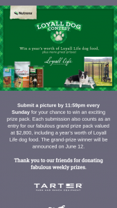 Cargill Nutrena – Loyall Dog Contest And – Win Total MSRP valued at $2800.