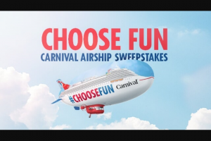 Carnival – Airship Ny – Win a Carnival cruise up to a maximum of eight (8) days for winner and one guest in a double occupancy ocean view cabin