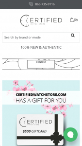 Certified Watch Store – $500 Giftcard Giveaway Sweepstakes