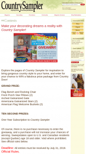 Country Sampler – 2019 Americana Style Giveaway – Win Grand Prize Country Door Prize Package value of $675.93.