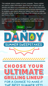 Good Foods – Good & Dandy – Win following One Weber Grill Assortment of Good Foods Product and Forty Eight Product Coupons from Duda Farm Fresh Foods