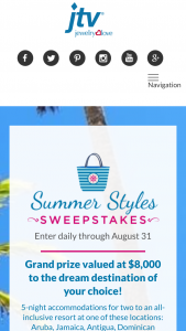 Jewelry Television – Summer Styles – Win any other form of compensation if actual travel costs are less than the estimate made in these Official Rules