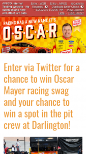 Kraft – Oscar Mayer #omsweeps – Win a race trip package for Winner and one guest