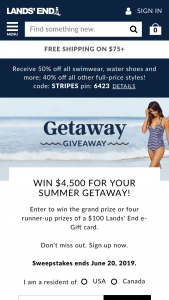 Lands' End – Getaway Giveaway – Win Grand Prize consisting of $4500 cash