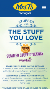 Mrs T's Pierogies – Summer Stuff 2019 Giveaway – Win One $1000 Wayfair gift card and Mrs T's Summer Swag 2 towels