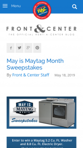 Rent-A-Center – May Is Maytag Month – Win (1) Maytag 5.2 CU