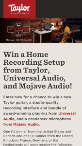 Taylor Guitars – Desktop Recording 322ce Prize Pack Sweepstakes
