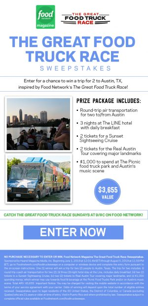 Food Network Magazine – Win a trip for 2 to Austin, TX