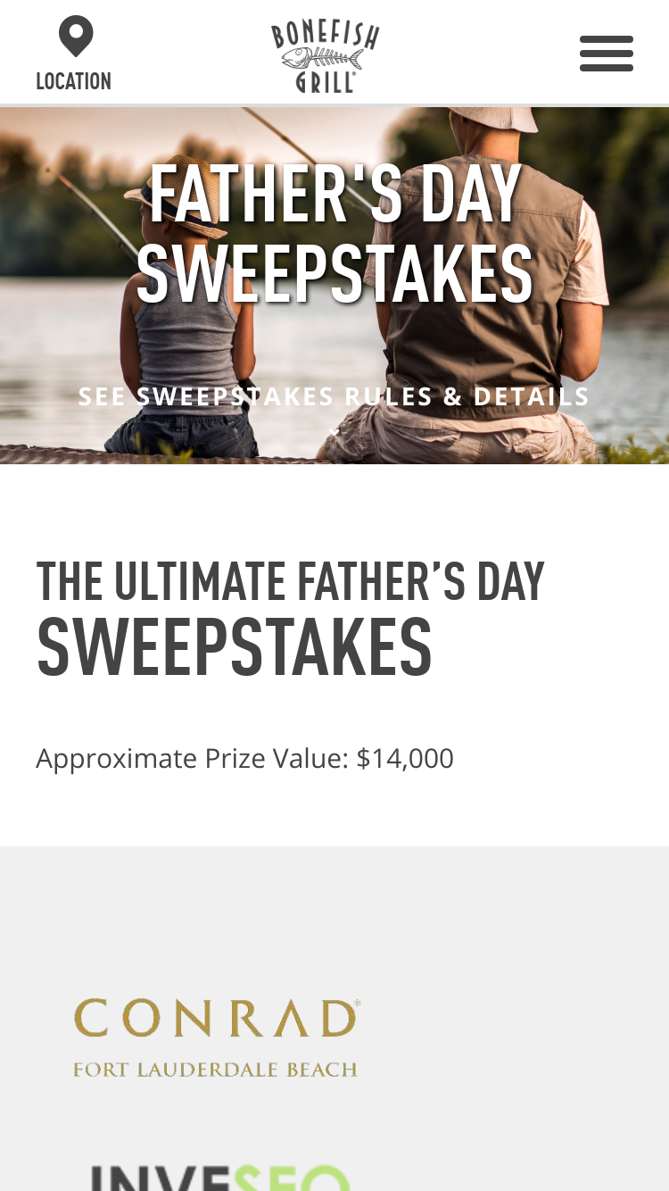 Bonefish Grill – Ultimate Father's Day Escape –     | GiveawayUS com