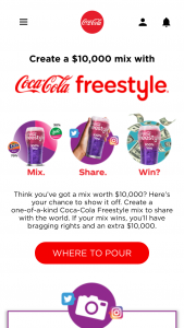 Coca-Cola – Freestyle Make Your Mix Contest – Twitter/instagram – Win made out to the winner for $10000.