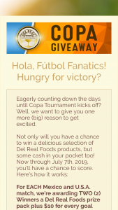 Del Real Foods – Copa Giveaway – Win Gift Card = $100 Jersey = $50).