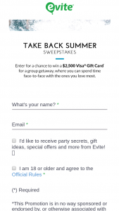 Evite – Take Back Summer Sweepstakes