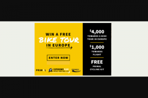 Experienceplus – Free Cycling Trip In Europe – Win One $4000 gift certificate toward an ExperiencePlus