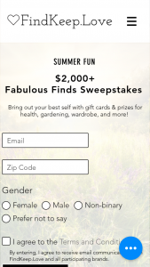 Findkeeplove – $2000 Fabulous Finds Sweepstakes
