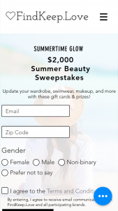 Findkeeplove – $2000 Summer Beauty Sweepstakes