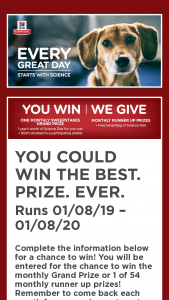 Hill's Pet Nutrition – Hill's Science Diet Every Great Day Sweepstakes
