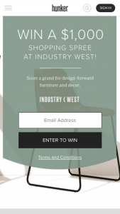 Hunker – Industry West – Win $1000 Gift Card to Industry West