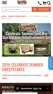 Lehman's – 2019 Celebrate Summer – Win a $300 Lehman's Gift Card in replacement of prize