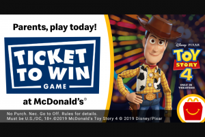 Mcdonald's – Ticket To Win Game – Win a $25 Disney Gift Card eGift