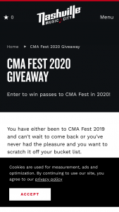 Nashville Convention & Visitors Corp – 2020 Cma Fest Giveaway Sweepstakes