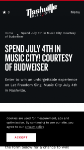 Nashville Convention & Visitors Corp – 2019 July 4th In Music City Courtesy Of Budweiser Giveaway Sweepstakes