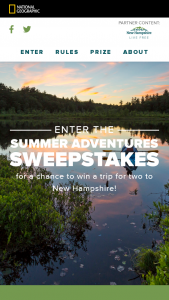 National Geographic – Summer Adventure – Win a four (4) day trip for the Grand Prize Winner and one guest