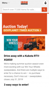 Ritchie Bros Iron Planet – Win Your Wheels – Win be won in total being a 2019 Kubota RTV-XG850WL-H with an approximate retail value of $15000.