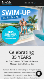 "Sandals Resorts – Swim-Up ""suite-stakes"" – Win a 6-Days/5-nights in a Club-level or higher category Swim Up Suite at any of the following Sandals Resorts Sandals Montego Bay"