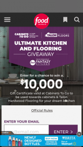 "Television Food Network – Ultimate Kitchen And Flooring Giveaway – Win the following (the ""Grand Prize"") a $10000 Cabinets To Go gift card"