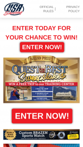 USA Shooting – Quest For The Best – Win $4000 One 1st Prize ARV up to $500 One 2nd Prize ARV up to $250 Fifty 3rd Prizes ARV $30 each & One Early Bird Prize Brazen Sports Watch ARV $1000.
