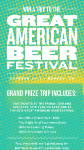 Yard House – Great American Beer Festival – Win a $50 Yard House Gift Card