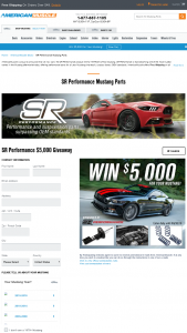 Americanmuscle – Sr Performance $5000 Giveaway – Win $5000.00 in credit to use for the purchase of any parts and accessories available at americanmusclecom