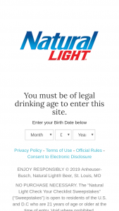 Anheuser-Busch – Natural Light Check Your Checklist – Win $1000.00 that can be used to purchase school supplies