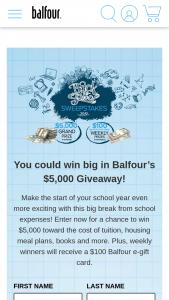 Balfour – Back To School Scholarship – Win one (1) $100 Balfour e-gift card