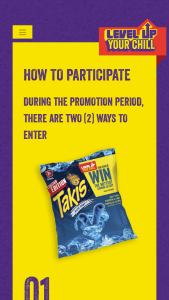 "Barcel USA – Takis Level Up Your Chill – Win one (1) 65"" HD television"